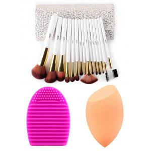 15 pcs Makeup Brushes Kit + Brush Egg + Makeup Sponge