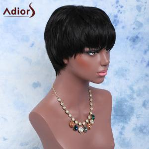 Short Fluffy Straight Full Bang Handsome Capless Synthetic Wig -