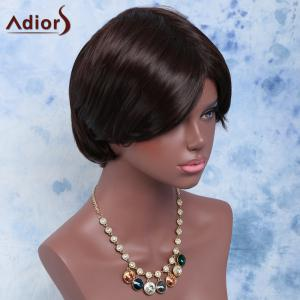 Double Color Short Side Bang Straight Synthetic Wig - BLACK AND BROWN