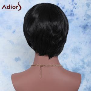 Towheaded Short Side Bang Straight Synthetic Wig - BLACK