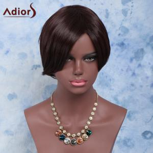 Towheaded Skilful Short Side Bang Straight Synthetic Wig - BROWN