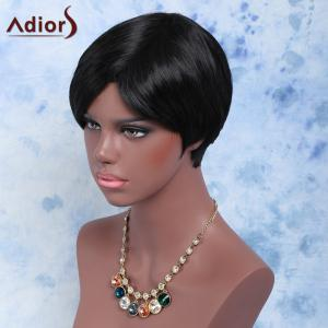 Short Outstanding Full Bang Straight Synthetic Wig - BLACK
