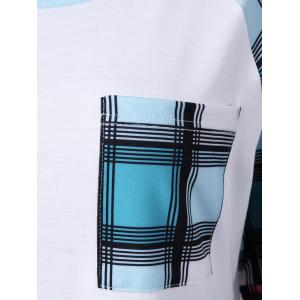 Raglan Sleeve Plaid Plus Size Tee - WHITE 5XL