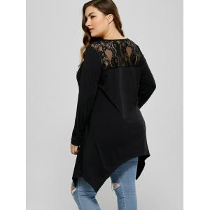 Lace Panel Asymmetrical Plus Size Tee - BLACK XL
