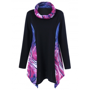 Plus Size Tie-Dye Asymmetrical T-Shirt