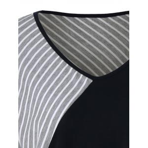 Plus Size Striped Asymmetrical T-Shirt - GRAY 5XL