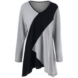 Plus Size Striped Asymmetrical T-Shirt - Gray - 4xl