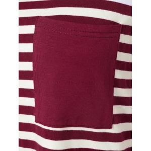 Single Pocket Striped Asymmetrical T-Shirt -