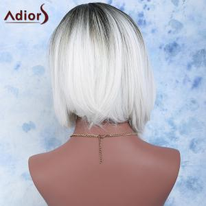 Black Mixed White Side Parting Short Straight Women's Fashion Synthetic Hair Wig - WHITE/BLACK
