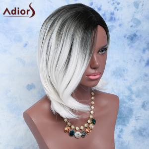 Black Mixed White Side Parting Short Straight Women's Fashion Synthetic Hair Wig -