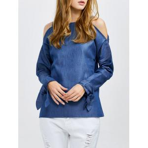 Long Sleeves Cold Shoulder Denim Top