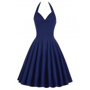 Lace-Up Halter Vintage Corset Club Dress - Purplish Blue - S