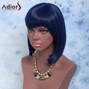 Medium Straight Full Bang Purplish Blue Fashion Women's Synthetic Hair Wig -