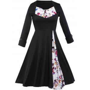 Floral Long Sleeve Tea Length Vintage Dress - Black - M