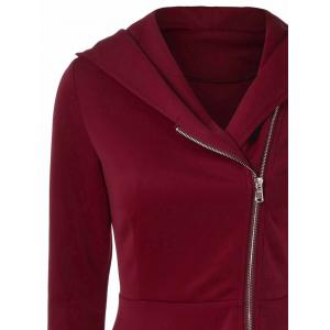 Side Zip Hooded Dress - DARK RED M