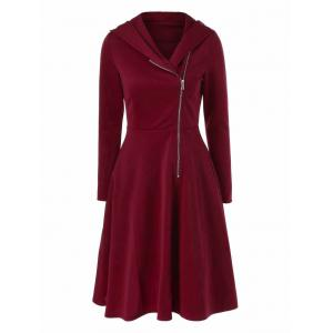 Side Zip Hooded Dress