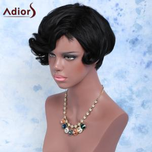 Short Fluffy Pixie Cut Curly Side Bang Synthetic Wig - BLACK