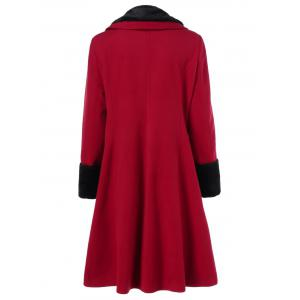 Plus Size Shawl Collar Two Tone Coat -