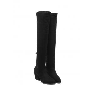 Zip Chunky Heel Pointed Toe Thigh Boots -