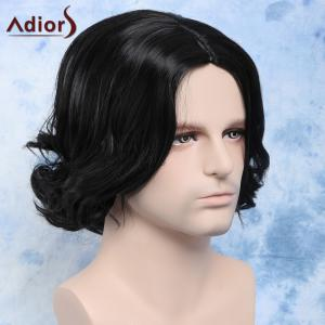 Fashion Side Parting Synthetic Shaggy Wave Short Black Capless Wig For Men -