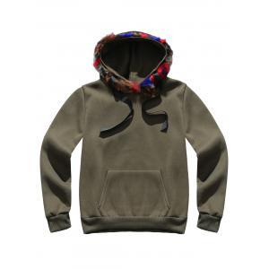 Faux Fur Pocket Hoodie with Track Pants - ARMY GREEN 3XL