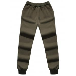 Faux Fur Pocket Hoodie with Track Pants - ARMY GREEN XL