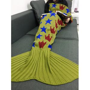 Stars Crown Pattern Home Decor Knitted Mermaid Blanket Throw