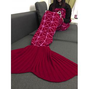 Mizi Grid Pattern Home Decor Knitted Mermaid Blanket Throw -