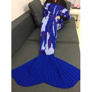 Home Decor Knitted Camouflage Mermaid Blanket Throw - BLUE
