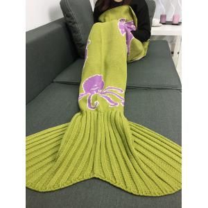 Cartoon Octopus Home Decor Knitted Mermaid Blanket Throw