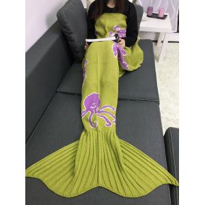 Cartoon Octopus Home Decor Knitted Mermaid Blanket Throw - GINGER