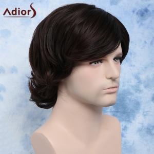 Trendy Brown Dark Side Bang synthétique Fluffy Wavy Anti Alice perruque de cheveux pour les hommes -