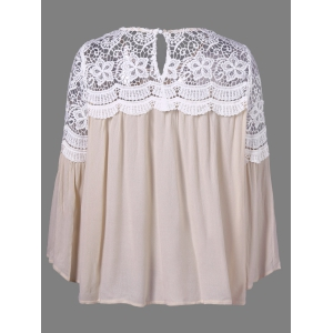Bell Sleeve Lace Panel Flowy Blouse -