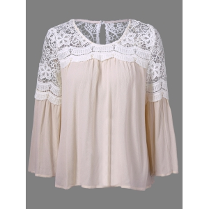 Bell Sleeve Lace Panel Flowy Blouse