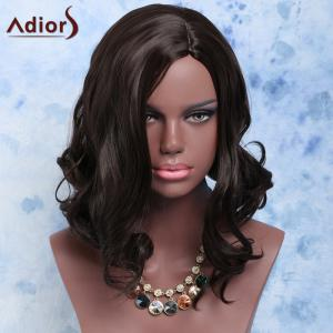 Exquisite Short Fluffy Wavy Black Side Parting Women's Synthetic Hair Wig -