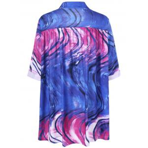 V Neck Tie Dye Plus Size Tee - COLORMIX XL