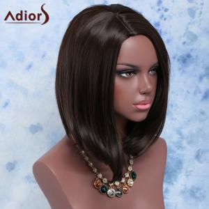 Fashion Short Straight Dark Brown Centre Parting Women's Synthetic Hair Wig -