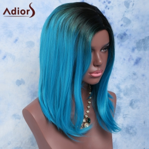 Black Mixed Blue Side Bang Medium Straight Women's Impressive Synthetic Hair Wig -