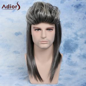 Men Mullet Hairstyle Long Ombre Color Cosplay Synthetic Wig -