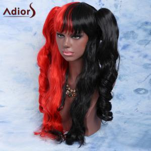 Long Full Bang with Bunches Wavy Double Color Cosplay Synthetic Wig -