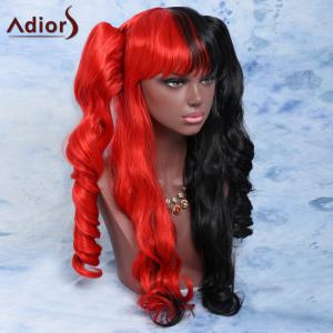 Long Full Bang with Bunches Wavy Double Color Cosplay Synthetic Wig - RED/BLACK