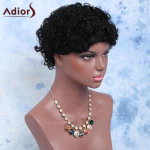 Short Afro Curly Side Bang Cosplay Synthetic Wig -
