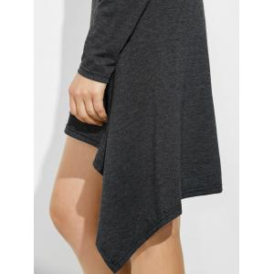 Long Sleeve Off The Shoulder Asymmetric Dress - GRAY L