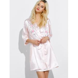 Cami Embroidered Babydoll and Fitting Wrap Robe -