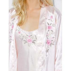 Cami Embroidered Babydoll and Fitting Wrap Robe - PEARL PINK XL