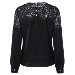 Lace Panel Long Sleeve Blouse -