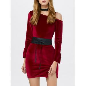 Cold Shoulder Velvet Mini Dress - Wine Red - One Size