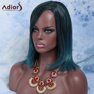 Medium Side Parting Silky Straight Colormix Synthetic Wig -