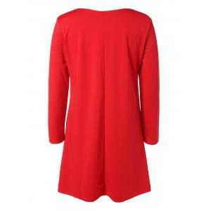 Plus Size Embroidered Long Sleeve Dress - RED 5XL