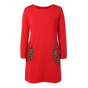 Plus Size Embroidered Long Sleeve Dress